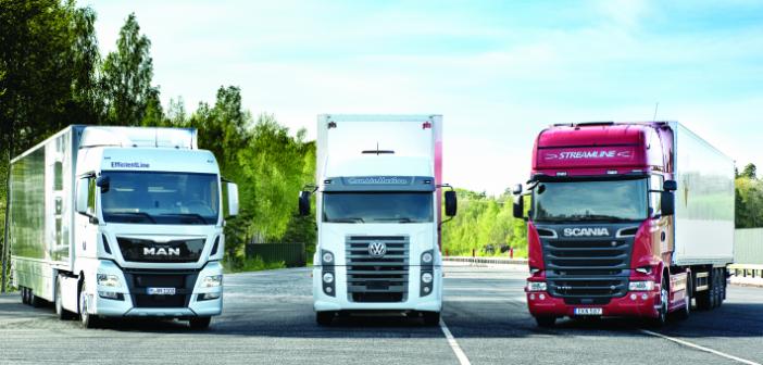 Caminhões MAN, VW e Scania: agora fabricados pelo mesmo grupo econômico Volkswagen Truck & Bus